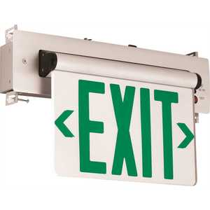Compass CELR1GNE 3.72-Watt Equivalent Integrated LED Brushed Aluminum, Green Letters Single-Face Recessed EdgeLit Exit Sign with Battery