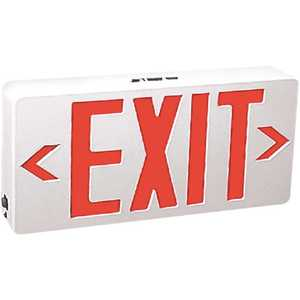 TCP 22743 120-Volt White Housing Integrated LED Red Exit Sign with Universal Battery Backup