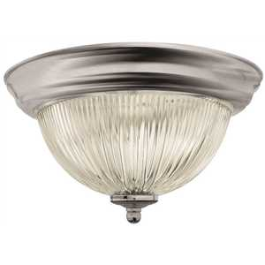 Monument 2487028 Halophane Dome 13-1/2 in. Ceiling in Fixture Brushed Nickel Uses Two 60-Watt Incandescent Medium Base Lamps