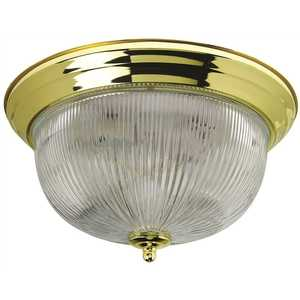 Monument 2487029 Halophane Dome 13-1/2 in. Ceiling in Fixture Polished Brass Uses Two 60-Watt Incandescent Medium Base Lamps