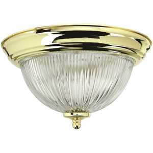 Monument 2487030 Halophane Dome 15-1/4 in. Ceiling in Fixture Polished Brass Uses Three 60-Watt Incandescent Medium Base Lamps
