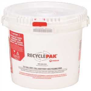 VEOLIA ENVIRONMENTAL SERVICES SUPPLY-041 RECYCLEPAK PREPAID DRY CELL BATTERY RECYCLING PAIL, 3.5 GALLON