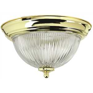 Monument 2487024 Halophane Dome 11-3/8 in. Ceiling in Fixture Polished Brass Uses One 60-Watt Incandescent Medium Base Lamps