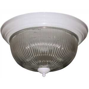 Monument 2487027 Halophane Dome 13-1/2 in. Ceiling in Fixture White Uses Two 60-Watt Incandescent Medium Base Lamps
