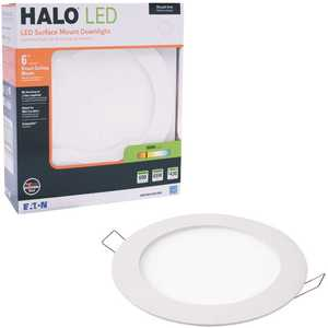 Halo SMD6R6930WHDM COPY 0 SMD-DM 6 in. 3000K Lens White Round Integrated LED Surface Mount Recessed Remodel Trim Kit