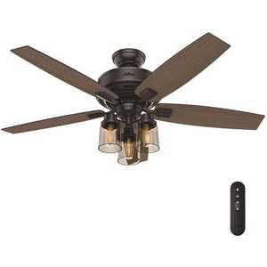 Bennett 52 in. LED Indoor Matte Black Ceiling Fan with 3-Light Kit and Handheld Remote Control