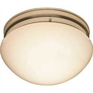 9.125 in. 2-Light Brushed Nickel Ceiling Flush Mount with White Opal Glass