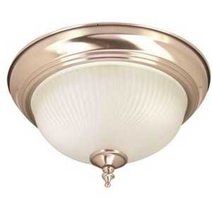 Monument 558728 1-Light Ceiling in Fixture Brushed Nickel Interior Flush-Mount with Frosted Swirl Glass