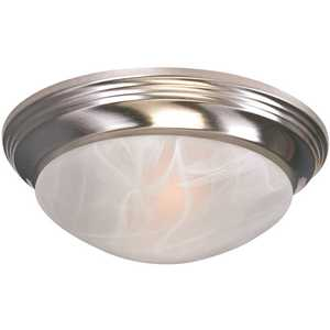 Royal Cove 563118 1-Light Brushed Nickel Flushmount Twist and Lock with Alabaster Swirl Glass