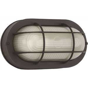 Royal Cove 2496823 Medium 1-Light Black Outdoor Wall or Ceiling Mounted Fixture Bulkhead with Frosted Glass