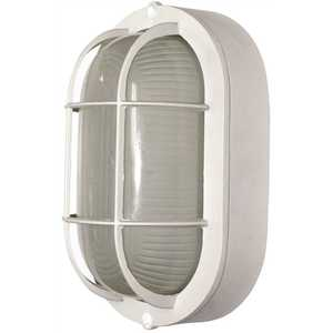 Royal Cove 2496822 Medium 1-Light White Outdoor Wall or Ceiling Mounted Fixture Bulkhead with Frosted Glass