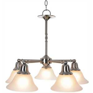 Monument 617259 5-Light Brushed Nickel Chandelier with Frosted Glass