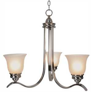 Monument 617246 3-Light Brushed Nickel Chandelier with Frosted Glass