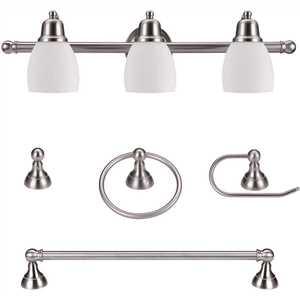 Globe Electric 51229 Jayden Satin Nickel All-In-One Bathroom Vanity Light Set