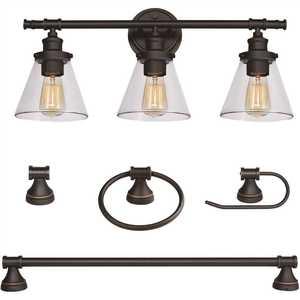 Parker 3-Light Oil Rubbed Bronze All-In-One Bath Light Set