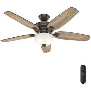 Hunter 53366 Channing 54 in. LED Indoor Easy Install Noble Bronze Ceiling Fan with HunterExpress Feature Set and Remote