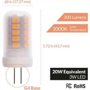 Newhouse Lighting G4-3020-4 20-Watt Equivalent G4 LED Bulb Halogen Replacement Light Bulb, Bi-Pin, Non-Dimmable