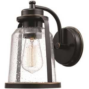 Roth 1-Light Oil Rubbed Bronze Outdoor/Indoor Wall Lantern Sconce with Clear Seeded Glass Shade