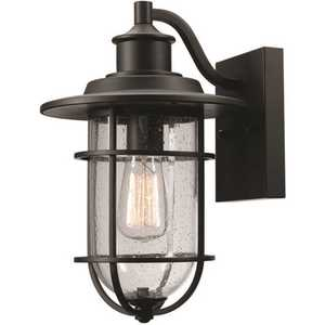 Globe Electric 44308 Turner 1-Light Black Outdoor Wall Lantern Sconce