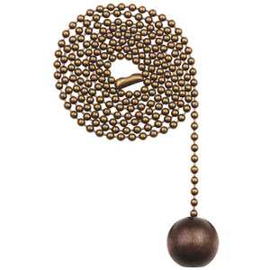 Commercial Electric 82425 Walnut and Antique Brass Wooden Ball Pull Chain