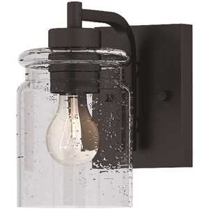 Crowe 1-Light Outdoor Wall Sconce, Matte Black, Seeded Glass Shade