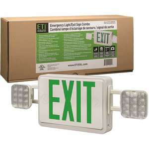 ETi 55502102 60-Watt Equivalent Integrated LED White with Green Letters Emergency Light Exit Sign Combo Battery Backup 6500K