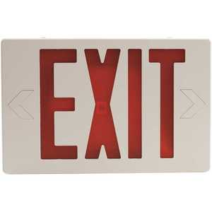 Sylvania 60761 15-Watt Equivalent Dual Voltage Integrated LED White Exit Sign with Emergency Battery Backup with Red Letters