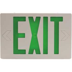 Sylvania 60762 15-Watt Equivalent Dual Voltage Integrated LED White Exit Sign with Emergency Battery Backup with Green Letters