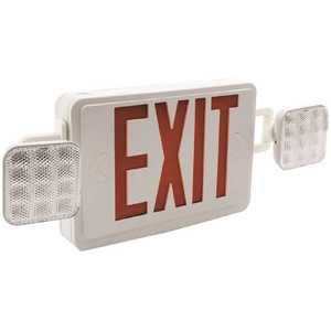 Sylvania 60759 24-Watt Equivalent Dual Voltage Integrated LED White Exit Sign and Twin Square Head Emergency Light Combo Red Letter