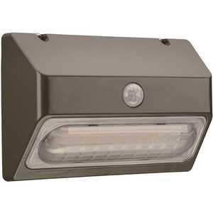 ETi 53901111 9 in. 150-Watt Equivalent Integrated LED Bronze Motion Sensor Wall Pack Light Dusk to Dawn Lumen Boost 2350 Lumens