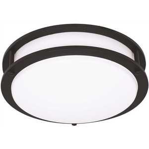 EnviroLite EV1414C3C-43 14 in. Matte Black Integrated Selectable LED CCT Round Flush Mount Light