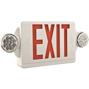 ACUITY LIGHTING LHQM LED R M6 QUANTUM LED COMBINATION EXIT/EMERGENCY LIGHT, SINGLE FACE, RED LETTERS, WHITE, DAMP LOCATION LISTED
