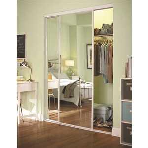 Contractors Wardrobe SAV-8380WH2S 83 in. x 80-1/2 in. Savoy White Steel Frame Mirrored Interior Sliding Door