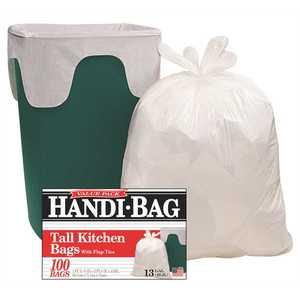 WEBSTER INDUSTRIES HAB6FK100 13 Gal. White Trash Bags