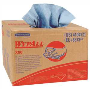WypAll 41041 X80 Extended Use Cloths Brag Box Format Reusable Wipes in Blue (160-Sheets/Box, )
