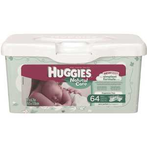 HUGGIES 39301 Natural Care Unscented Baby Wipes, Sensitive, 1 Refillable Pop-Up Tub (64 Total Wipes)