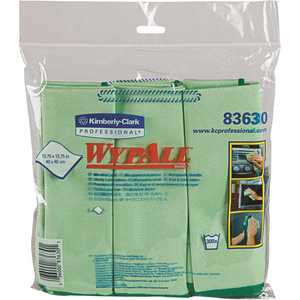 15.75 x 15.75 in. Green Reusable Microfiber Cloths (, 6 Wipes/Container, 24 Wipes/Case)