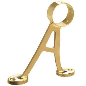 """Lavi 00-404/2 Floor Mounted Bracket for Footrail - Lavi Bar Railing 2"""" Polished Brass"""