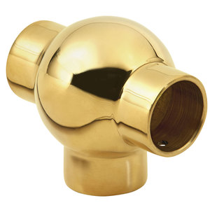 """Brass Ball Tee Fitting for 1-Inch Railing 1"""" Polished Brass"""