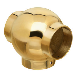 """Ball Tee Railing Component for Brass Handrail 1.5"""" Polished Brass"""