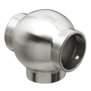 "Lavi 44-704/1H Ball Tee Railing Component for Brass Handrail 1.5"" 304-Grade Satin Stainless Steel"