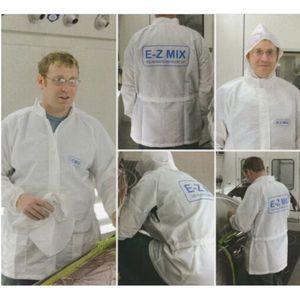 E-Z Mix® 65658W 65658W Lab Coat, 3X-Large, White, Carbon Fiber Threads, Detachable Hood