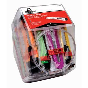 American Safety Razor 66-0456-CJAR 8 Pt./15MM Plastic Snap off Knife Neon Colors - Jar of 25