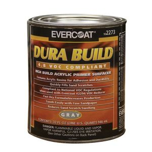 EVERCOAT® 102273 102273 Fast Drying Dura Build Acrylic Primer, 1 qt Round Can, Gray, 1200 sq-ft/gal Coverage