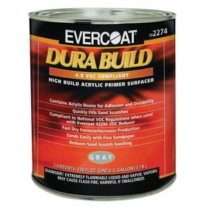 EVERCOAT® 102274 102274 Fast Drying Dura Build Acrylic Primer, 1 gal Round Can, Gray, 1200 sq-ft/gal Coverage