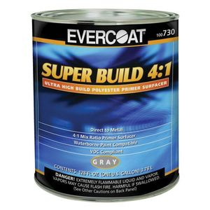 EVERCOAT® 100730 100730 Super Build Polyester Primer, 1 gal Round Can, Gray, 4:1 Mixing, 1200 sq-ft/gal Coverage
