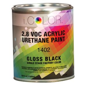 iColor ICO.1402-1 1402-1 1400 1-Stage Acrylic Urethane Paint, 1 gal, Black, 4:1:1 Mixing, 850 sq-ft/gal at 1 dry mil Coverage