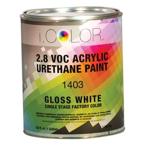 iColor ICO.1403-1 1403-1 1400 1-Stage Acrylic Urethane Paint, 1 gal, White, 4:1:1 Mixing, 850 sq-ft/gal at 1 dry mil Coverage