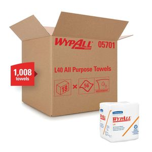 WypAll® 5701 05701 L40 Disposable Cleaning and Drying Towel, 12-1/2 x 12 in, 56, Double Re-Creped, White, 1 Plys