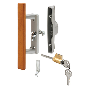 "CRL C1064 Wood/Aluminum Keyed Internal Lock Sliding Glass Door Handle Set with 3-15/16"" Screw Holes for Viking Doors"